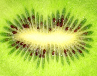 Kiwi and it's phytochemical filled white center.  Kiwi detoxifies the kidneys, and have more Vitamin C than Oranges.