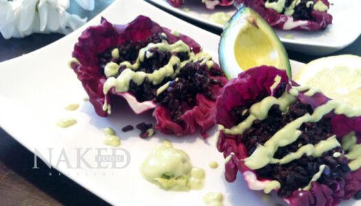 Forbidden Rice Cabbage Tacos + Avocado-Hemp Sauce