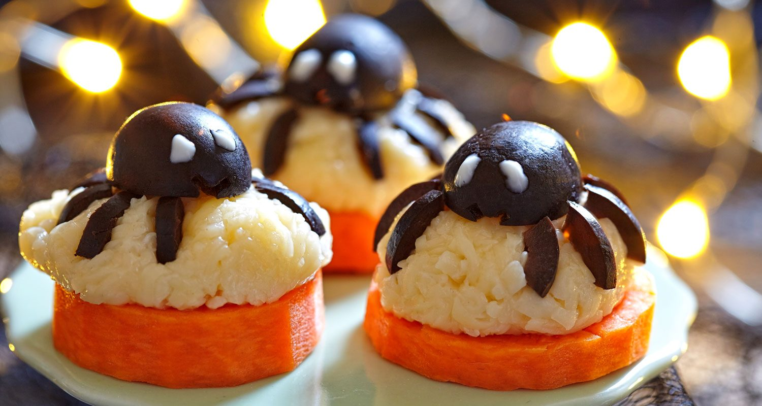 Halloween Spider Bites: Plant-based, vegan, gluten-free, oil-free, salt-free recipe |