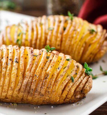 Holiday Hasselback Potatoes | Holiday Plant-based Vegan Recipes | Naked Food Magazine