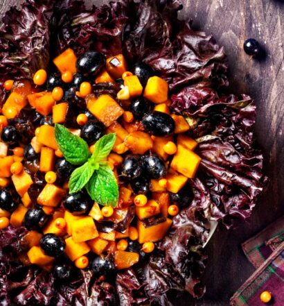 Holiday Squash & Berry Salad | Holiday Plant-based Vegan Recipes | Naked Food Magazine