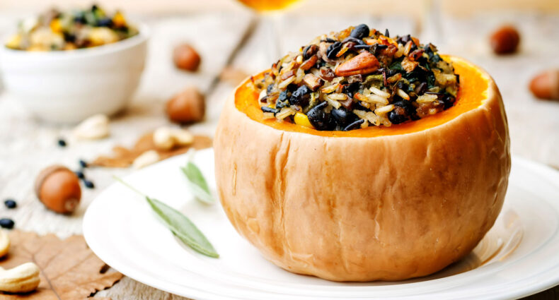 Stuffed Holiday Pumpkin | Holiday Plant-based Vegan Recipes | Naked Food Magazine
